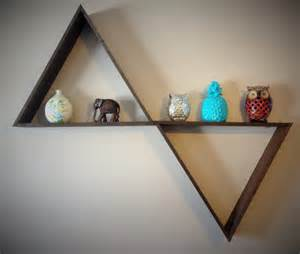 large triangle floating shelf wood colors and