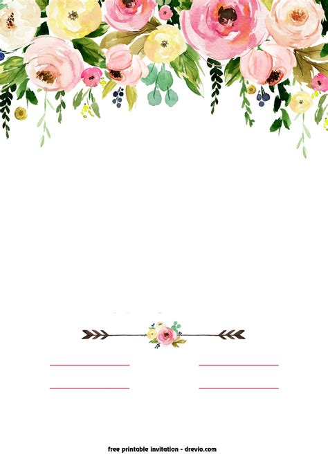 Free Printable Boho Chic Flower Baby Shower Invitation Template Free Printable Baby Shower Flower Invitations Templates Free