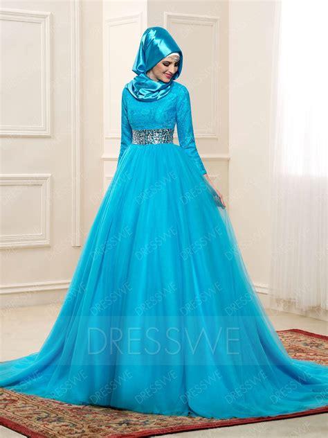 Dress Aqua Biru delicate lace sleeves high neck a line muslim wedding