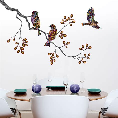 Virtual Room Builder birds and tree branch wall sticker decal