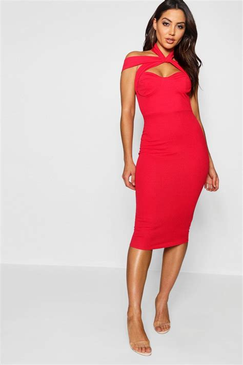 Strappy Dress boohoo womens strappy top detail midi bodycon dress