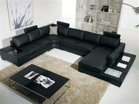 Living Room Black Leather Sofa Modern White Leather Furniture Decosee