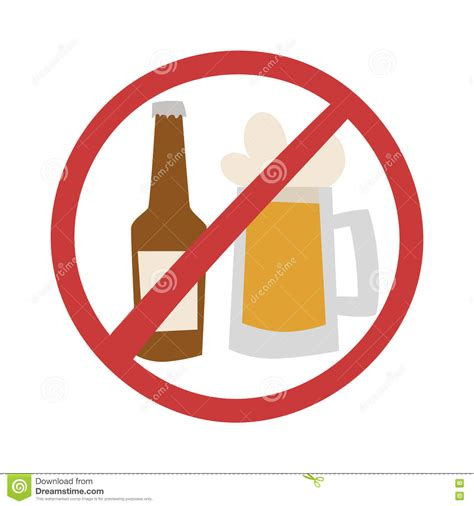 cartoon no alcohol prohibition sign icon no drink beer stock illustration
