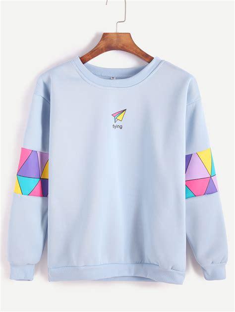 Sweatshirt Print pale blue patchwork print sweatshirtfor romwe
