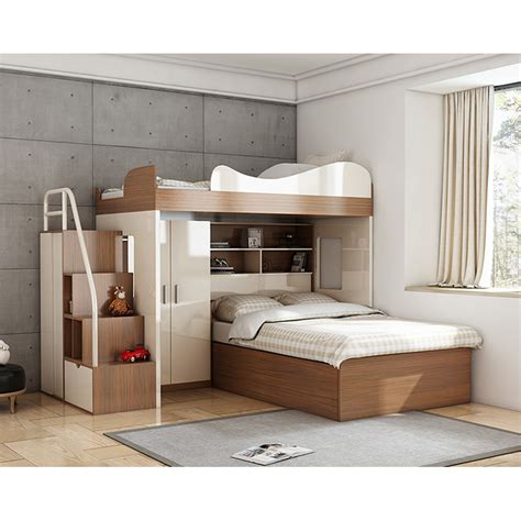 cbmmart space saving kids twin loft bunk bed  desk  wardrobe  bedroom sets