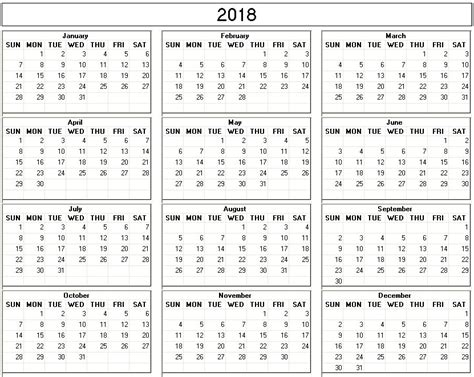 printable calendar 2015 to 2018 yearly 2018 printable calendar back and white week starts
