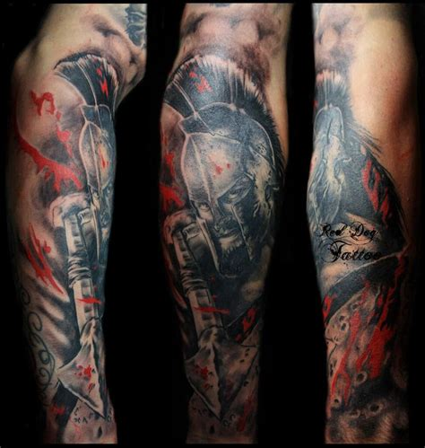 tattoo black and grey and red 300 spartan tattoo designs and ideas on forearm 300
