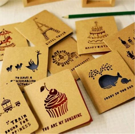how to make cut out cards 18 sets of kraft laser cut greeting cards for