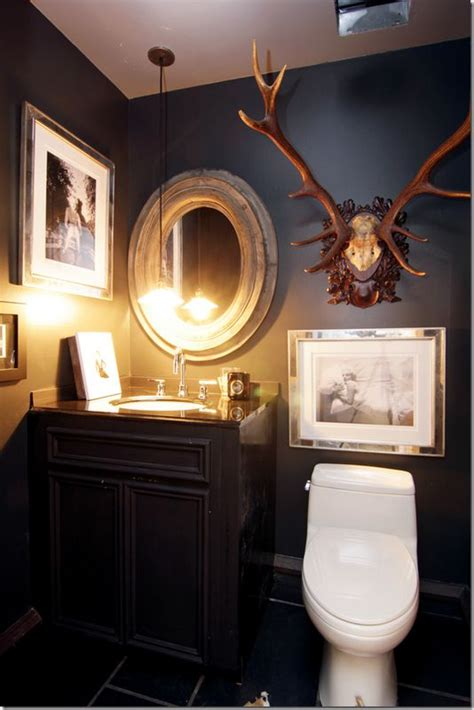dark paint in small bathroom antlers powder rooms and powder on pinterest