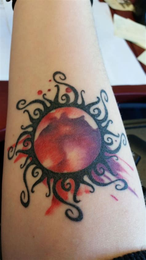 watercolor sun tattoo 1000 ideas about back thigh on thigh