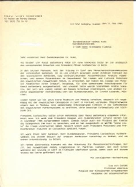 Kohl S Demand Letter letter to chancellor helmut kohl searching for raoul