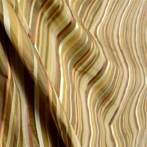 faux silk drapery fabric bodrum earth gold brown beige cream faux silk stripe