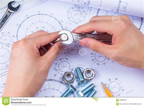 design engineer mechanical design engineer in drawing stock photo image 58088076