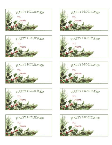 printable holiday gift tags christmas labels party pdf by