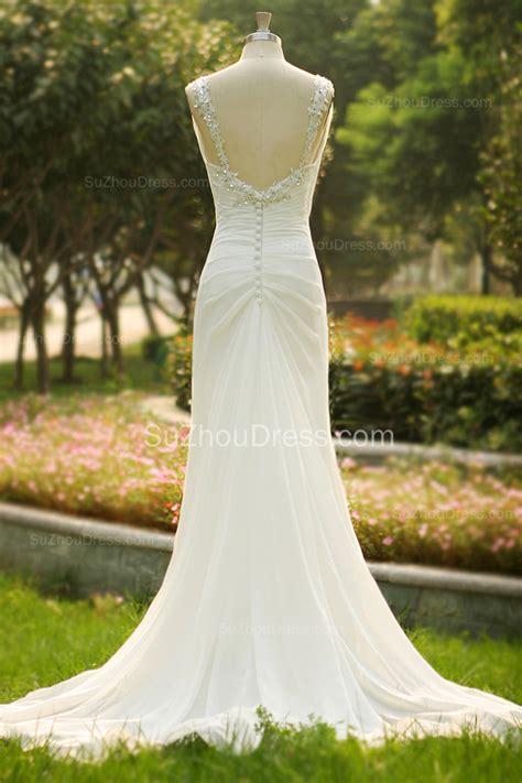 Summer Garden Wedding Dresses - popular white summer wedding dresses v neck beads long train zipper chiffon bridal dresses for