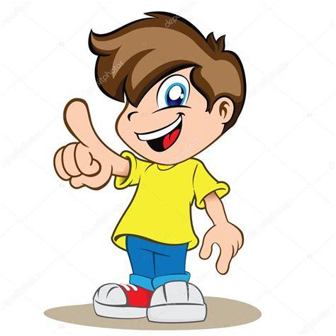 bambini clipart la ilustraci 243 n es un ni 241 o chico feliz se 241 alar o mostrar