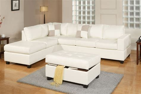White Bonded Leather Sectional Sofa White Bonded Leather Reversible Sectional Sofa Ottoman