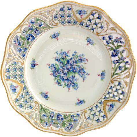 beautiful plates schumann bavaria chalet blue forget me not pierced rim