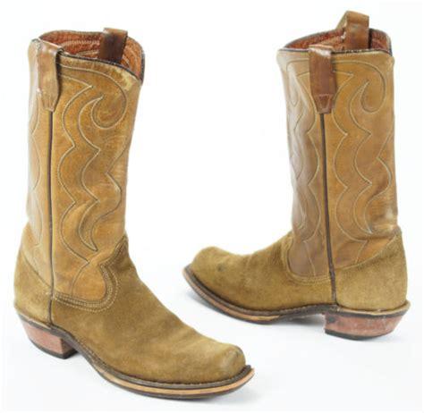 vintage acme mens brown suede leather square toe cowboy