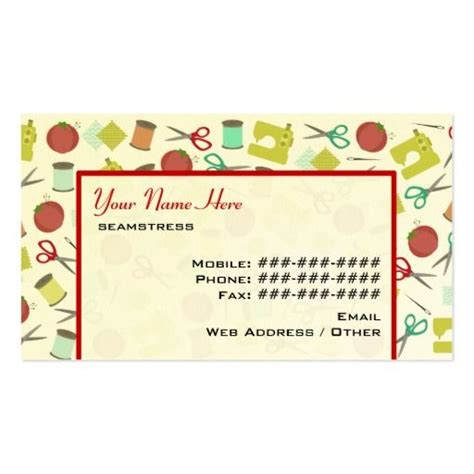 Name Card Kartu Nama Motif Balok Retro retro sewing themed business card business cards and business