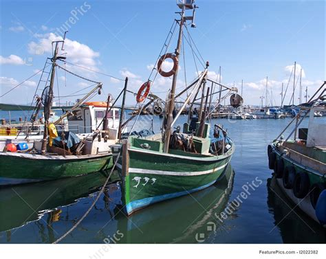 mediterranean traditional colorful fishing boats picture