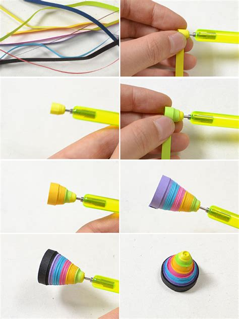 Steps To Make Paper Quilling - easy handmade colorful quilling paper cone dangle earrings