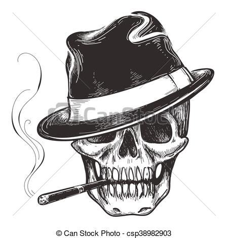 gangster skull tattoo death head with cigar and hat