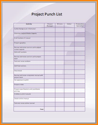 project directory template construction punch list excel spreadsheet pictures to pin