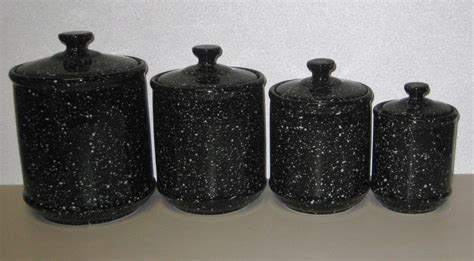 black ceramic kitchen canisters ceramic speckled granite black 4 canister set ceramic