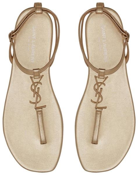 Flat Ysl laurent gold nu pieds 05 ysl logo flat sandals size