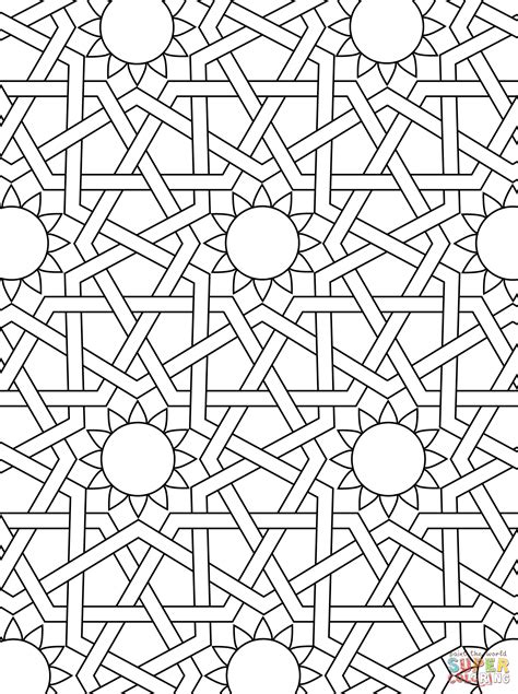 islamic ornament mosaic coloring page free printable