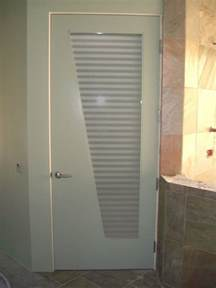 Glass doors with obscure frosted glass sleek bands bathroom door