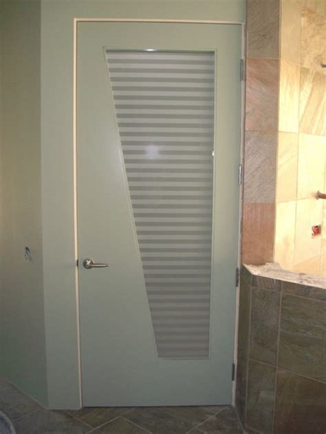 Frosted Glass Doors Bathroom Interior Glass Doors With Obscure Frosted Glass Sleek Bands Bathroom Door Contemporary