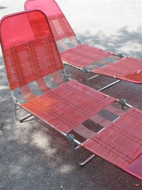 plastic fold out lounge chair pair folding chaise lounge patio deck chair retro pink