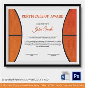Basket Template by Basketball Certificate Template 12 Free Word Pdf Psd