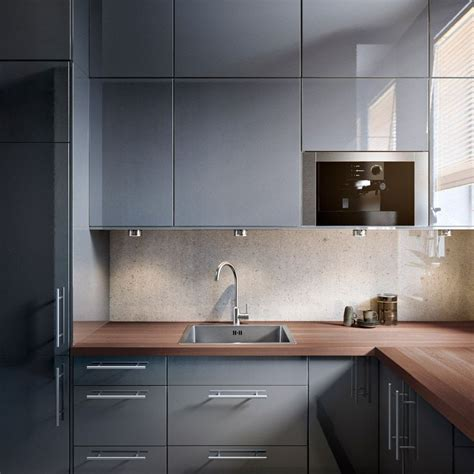 gray gloss kitchen cabinets faktum kitchen with abstrakt grey high gloss doors drawers