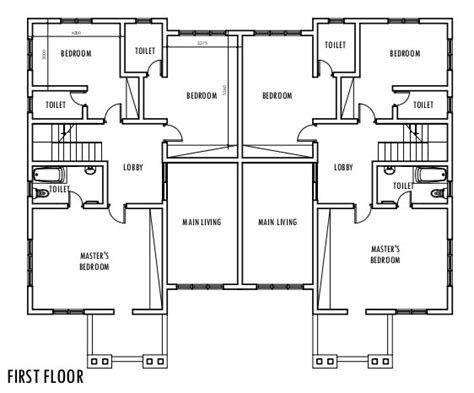two bedroom semi detached house plan 4 bedroom semi detached duplex first floor plan duplex pinterest floor plans