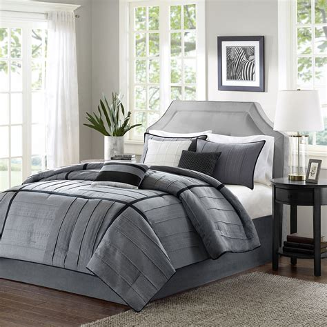 Beautiful 7 Pc Grey Black Ivory Soft Modern Comforter Set Grey Bedding Sets