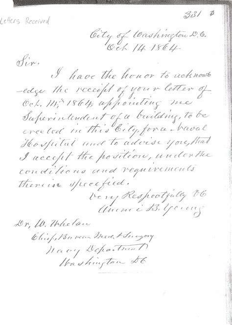 Acceptance Letter For Appointment Letter Of Ammi B Accepting Appointment As Superintendent Of Construction October 14 1864