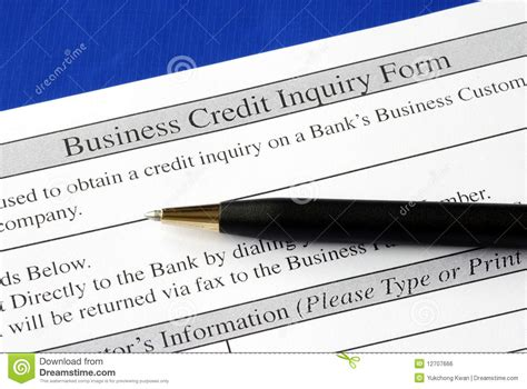 Credit Inquiry Form Complete The Credit Inquiry Form Royalty Free Stock Image Image 12707666