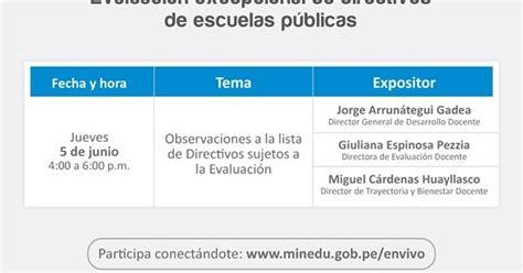 conferencias virtuales minedu ministerio de educaci n en vivo ciclo de conferencia virtuales sobre evaluaci 243 n