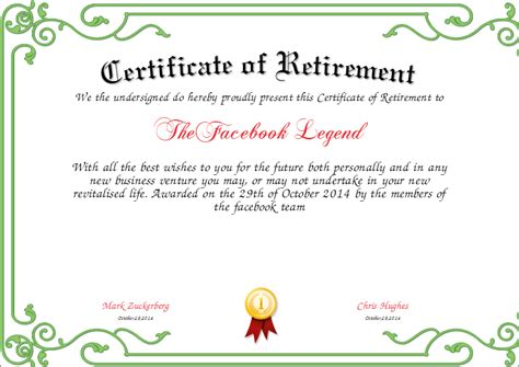 Retirement certificate certificate of appreciation printable retirement certificate template free retirement certificate yadclub Choice Image