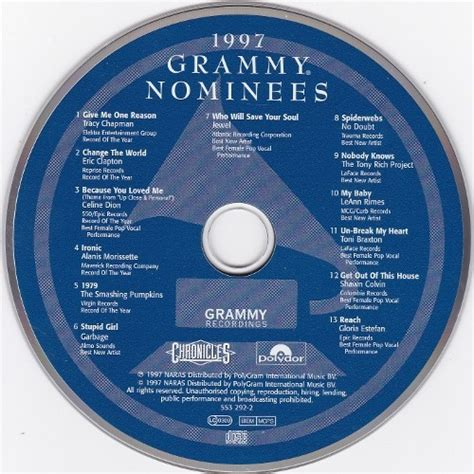 Cd Grammy 2010 Nominee 1997 Grammy Nominees By Various Artists Cd With