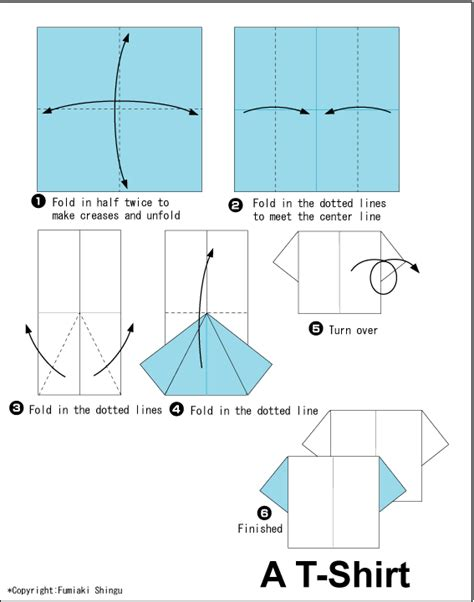 How To Make Origami T Shirt - diagram