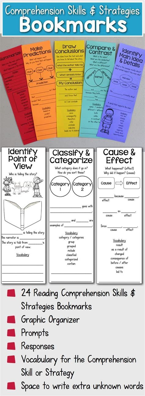 printable bookmarks with reading strategies reading comprehension bookmarks to support academic