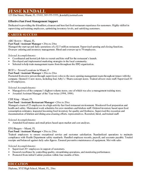 Resume Sle For Restaurant Assistant Manager Exle Fast Food Assistant Manager Resume Sle