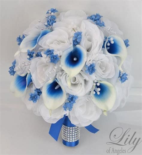 royal blue and white wedding centerpieces 17 package silk flowers wedding bouquet bridal