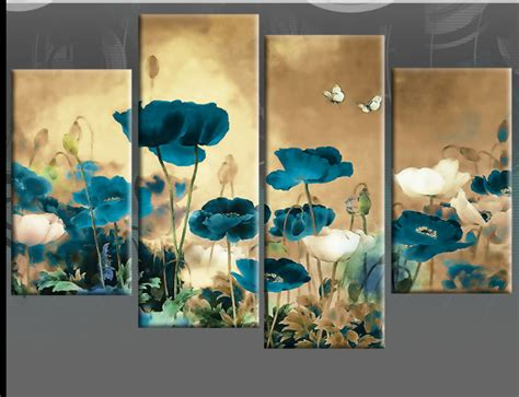 teal and to multi field poppies flowers floral 4 panel picture canvas poppy wall print
