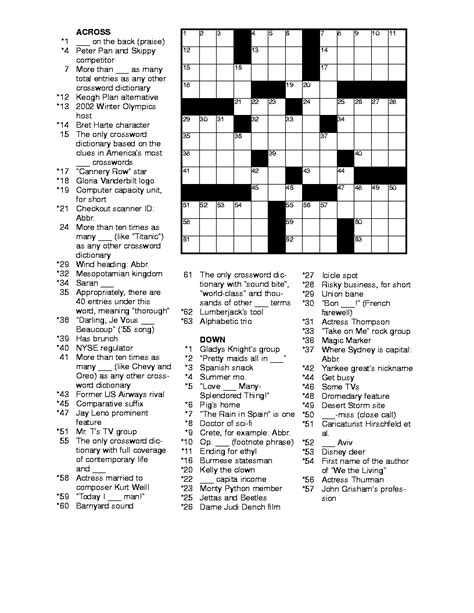 Free Searches For Free Printable Crossword Puzzles For Adults Printable Crossword