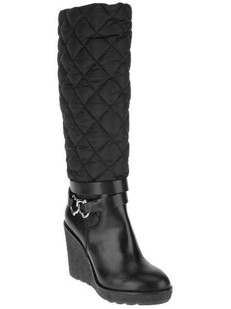 moncler wedge knee high boot in black lyst